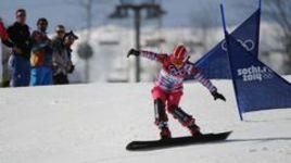 Сочи. Екатерина ТУДЕГЕШЕВА на трассе параллельного слалома во время Олимпиады.