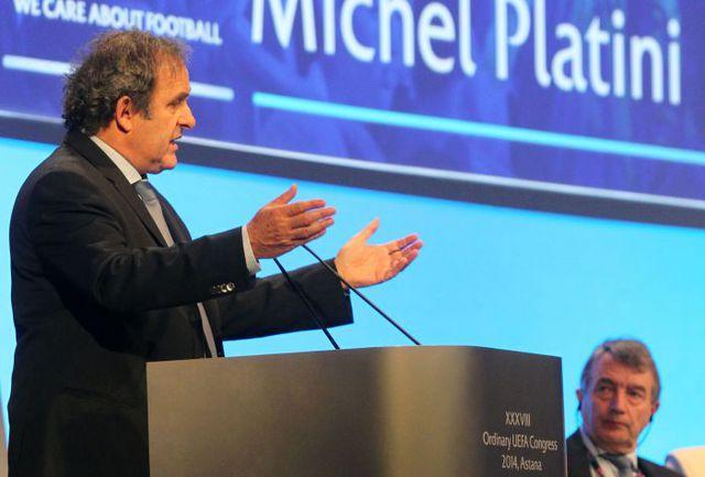 Вчера. Астана. Президент УЕФА Мишель ПЛАТИНИ. Фото AFP