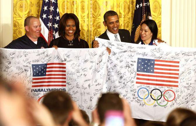 3 апреля. Вашингтон. Олимпийская и паралимпийская сборные США на приеме у президента США Барака ОБАМЫ. Фото Reuters