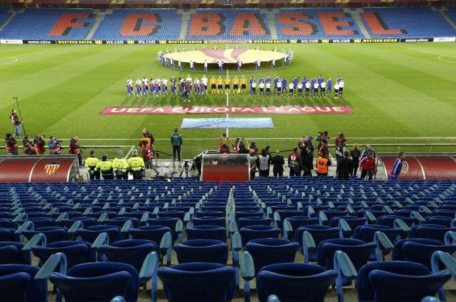 """Вчера. Базель. """"Базель"""" – """"Валенсия"""" – 3:0. Матч проводился без зрителей. Фото AFP"""