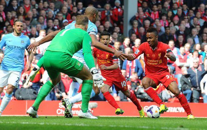 """Сегодня. Ливерпуль. """"Ливерпуль"""" - """"Манчестер Сити"""" - 3:2. 6-я минута. Гол Рахима СТЕРЛИНГА. Фото AFP"""
