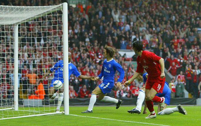 """5 мая 2005 года. Ливерпуль. """"Ливерпуль"""" - """"Челси"""" - 1:0. 4-я минута. Так состоялся единственный гол в английском полуфинале. Фото AFP"""