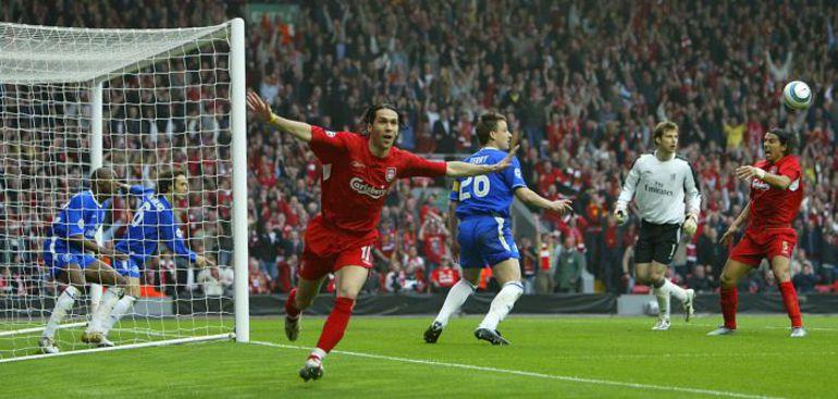 """5 мая 2005 года. Ливерпуль. """"Ливерпуль"""" - """"Челси"""" - 1:0. 4-я минута. Луис ГАРСИЯ празднует единственный гол в английском полуфинале. Фото AFP"""
