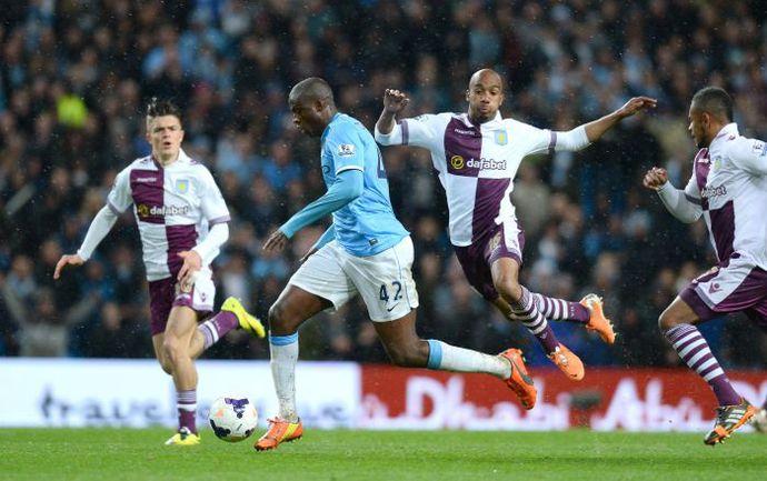 """Вчера. Манчестер. """"Манчестер Сити"""" - """"Астон Вилла"""" - 4:0. 90+3-я минута. Яя ТУРЕ после рывка устанавливает окончательный счет в матче. Фото AFP"""