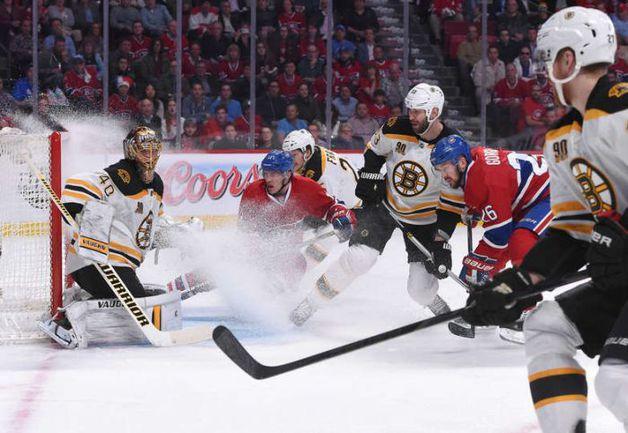 """Понедельник. Монреаль. """"Монреаль"""" – """"Бостон"""" – 4:0. Туукка РАСК (№40) спасает свои ворота. Фото НХЛ"""