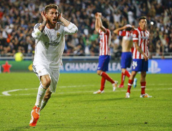 """Сегодня. Лиссабон. """"Реал"""" - """"Атлетико"""" - 4:1 д.в. 90+3-я минута. Только что СЕРХИО РАМОС сравнял счет. Фото REUTERS"""