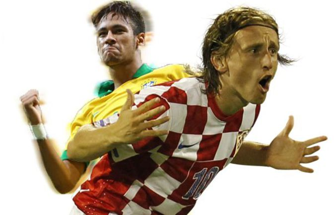 Главная бразильская звезда НЕЙМАР (слева) и лидер сборной Хорватии Лука МОДРИЧ. Фото AFP