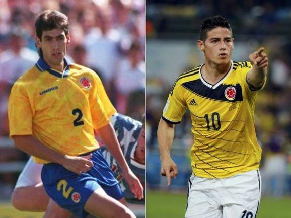 Два лидера сборной Колумбии: образца ЧМ-1994 - Андрес ЭСКОБАР (слева) и нынешний - Джеймс РОДРИГЕС. Фото AFP