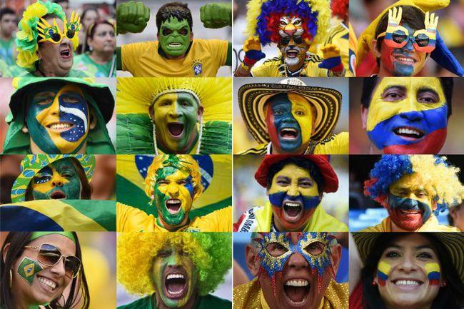 Болельщики сборных Бразилии и Колумбии. Фото AFP