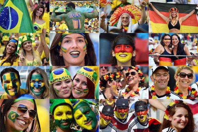 Болельщики сборных Бразилии и Германии в преддверии сегодняшнего полуфинала в Белу-Оризонти. Фото AFP