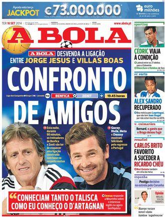 Так выглядит первая полоса сегодняшнего номера португальской газеты A Bola.