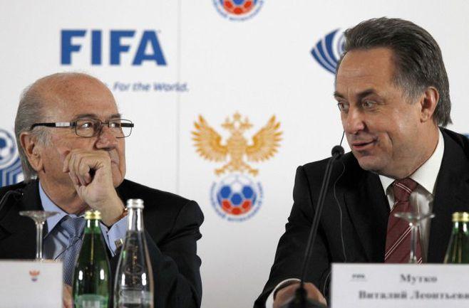Глава ФИФА Зепп БЛАТТЕР и Министр спорта России Виталий МУТКО. Фото REUTERS