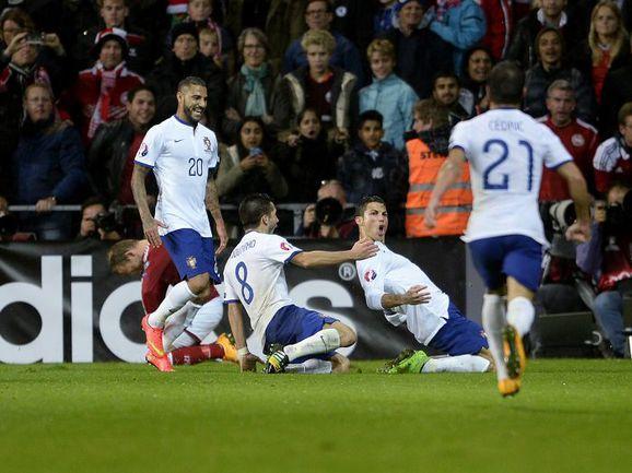 Вчера. Копенгаген. Дания - Португалия - 0:1. 90+5-я минута. Только что КРИШТИАНУ РОНАЛДУ принес гостям победу. Фото AFP