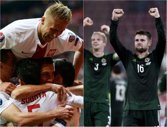 Сборная Польша впервые в истории обыграла Германию (слева). Сборная Северной Ирландии одержала три победы на старте отборочного турнира (справа). Фото AFP