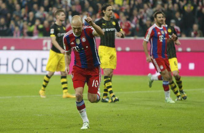 "Суббота. Мюнхен. ""Бавария"" – ""Боруссия"" Д – 2:1ю 85-я минута. Арьен РОББЕН празднует победный гол. Фото REUTERS"