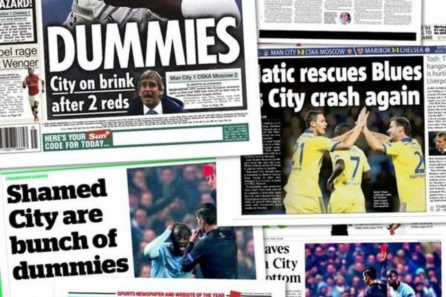"""Английские газеты нещадно критикуют """"Манчестер Сити"""" после поражения от ЦСКА."""