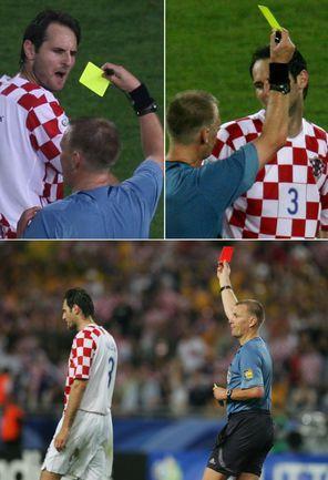 22 июня 2006 года. Штутгарт. Хорватия - Австралия - 2:2. Судья Грэм ПОЛЛ показывает Йосипу ШИМУНИЧУ две желтые карточки, но удалит его лишь спустя некоторое время - когда хорват заработает третье предупреждение. Фото REUTERS