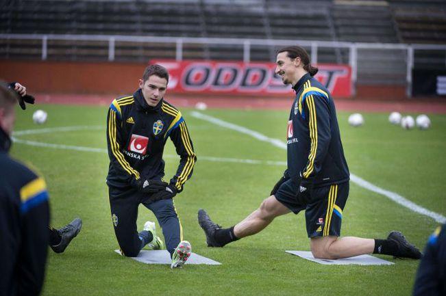 Вчера. Стокгольм. Нападающие сборной Швеции Бранимир ХРГОТА (слева) и Златан ИБРАГИМОВИЧ готовятся к встрече с Черногорией. Фото REUTERS