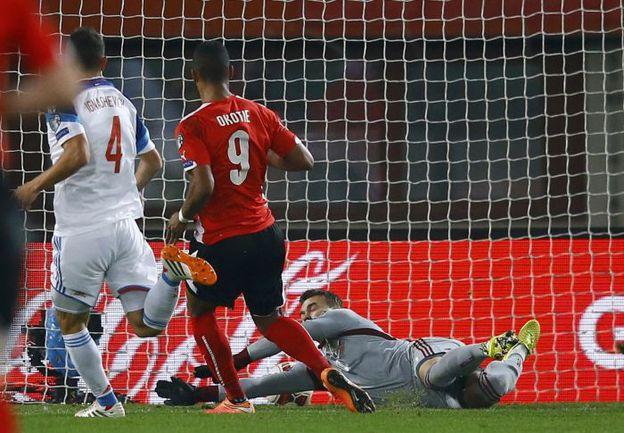 Суббота. Вена. Австрия - Россия - 1:0. 73-я минута. Победный гол Рубина ОКОТИ. Фото REUTERS