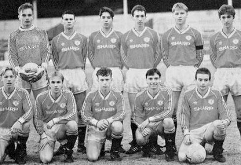 """Эйдриан ДОЭРТИ - крайний справа в нижнем ряду - самый яркий и самый забытый из """"Класса-92"""". Фото Manchester United FC/Inside United"""