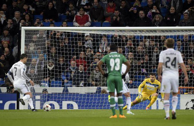 """Вчера. Мадрид. """"Реал"""" - """"Лудогорец"""" - 4:0. 20-я минута. КРИШТИАНУ РОНАЛДУ открывает счет матча. Фото AFP"""
