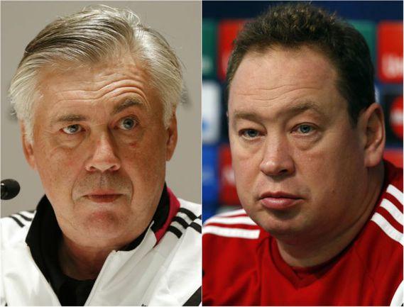 Карло АНЧЕЛОТТИ (слева) и Леонид СЛУЦКИЙ. Фото AFP