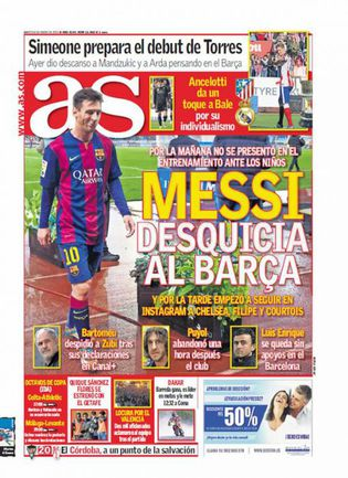 """Передовица AS: Месси недоволен """"Барселоной"""" или Месси раскачивает """"лодку""""."""