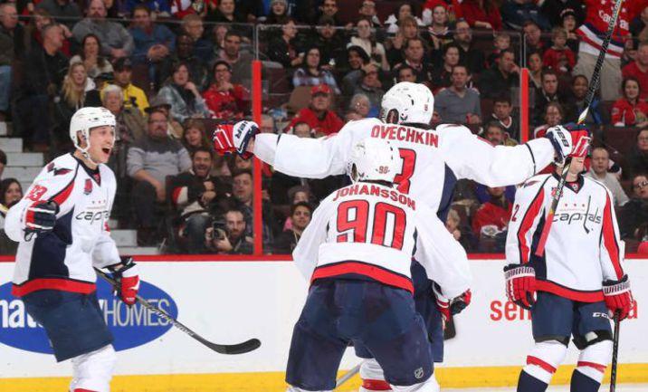 """Вчера. Оттава. """"Оттава"""" - """"Вашингтон"""" - 1:2. Александр ОВЕЧКИН (№8): есть победный гол! Фото NHL.com"""