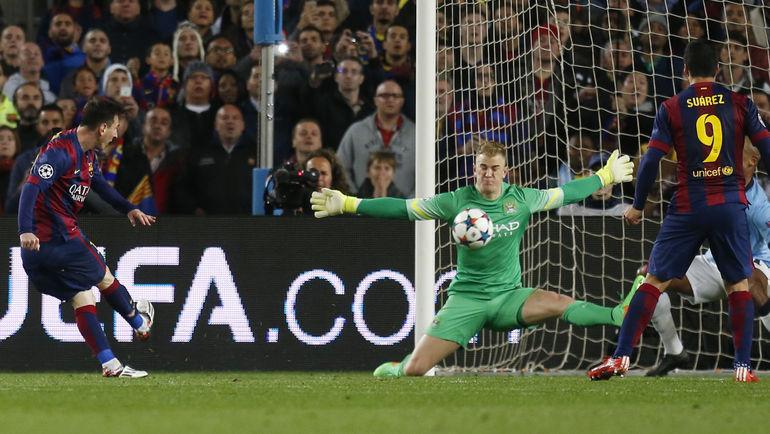 "Среда. Барселона. ""Барселона"" - ""Манчестер Сити"" - 1:0. Один из десяти сэйвов Джо ХАРТА. Фото Reuters"