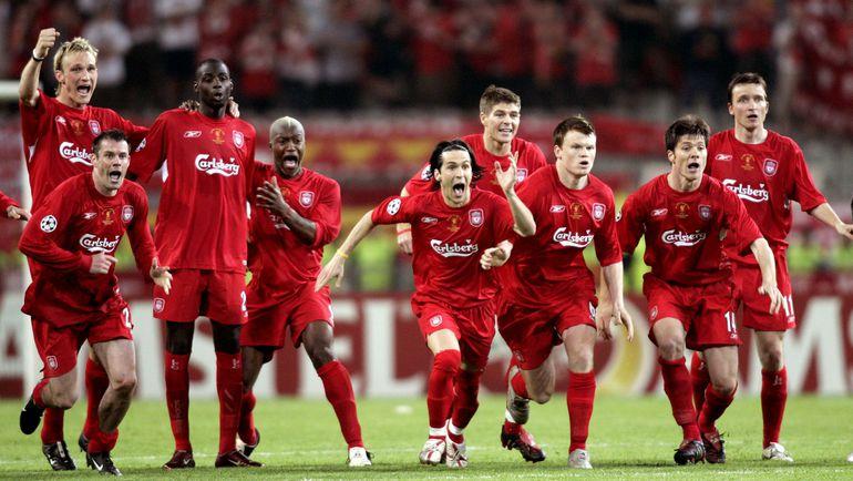 """25 мая 2005 года. Стамбул. """"Милан"""" - """"Ливерпуль"""" - 3:3. Пенальти – 2:3. Реакция игроков """"Ливерпуля"""" после победного пенальти. Фото REUTERS"""