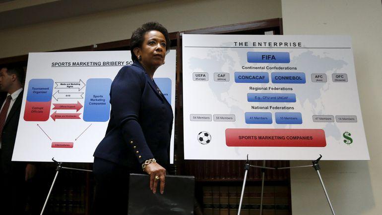 Сегодня. Нью-Йорк. Генпрокурор США Лоретта ЛИНЧ на фоне коррупционных схем ФИФА. Фото Reuters