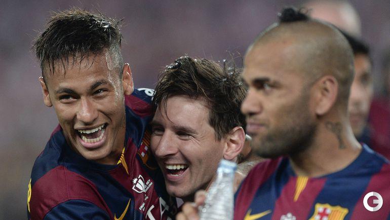 Победители Кубка Испании (слева направо): НЕЙМАР, Лионель МЕССИ и ДАНИ АЛВЕС.