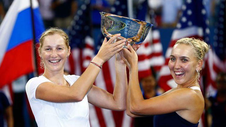 В 2014 году Екатерина МАКАРОВА и Елена ВЕСНИНА выиграли US Open, победив в финале парного разряда Мартину Хингис и Флавию Пеннетту. Фото AFP