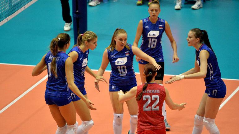 Сегодня. Катанья. Россия - Бельгия - 1:3. Россиянки смогли навязать борьбу сопернику лишь в третьем сете. Фото FIVB