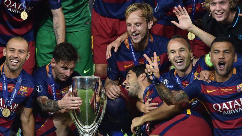 """Вчера. Тбилиси. """"Барселона"""" – """"Севилья"""" – 5:4 д.в. """"Барселона"""" в пятый раз в своей истории стала обладателем Суперкубка УЕФА. Фото AFP"""