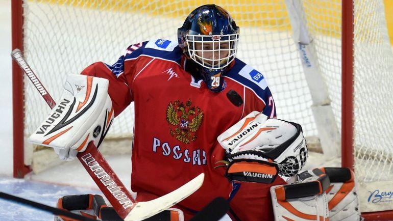 Вратарь сборной России U-18 Максим КАЛЯЕВ. Фото ФХР