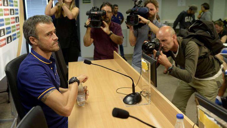 Вчера. Барселона. Пресс-конференция Луиса ЭНРИКЕ. Фото AFP