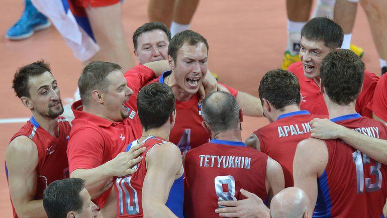 12 августа 2012 года. Игроки сборной России празднуют победу над Бразилией в финале Олимпийских игр. Фото AFP