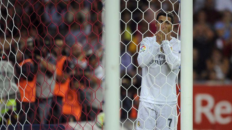 """Спортинг"" (Хихон) – ""Реал"" (Мадрид) – 0:0. КРИШТИАНУ РОНАЛДУ после упущенного момента у ворот ""Спортинга""."