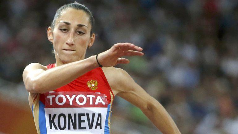 Екатерина КОНЕВА во время разбега в финале соревнований в тройном прыжке. Фото REUTERS