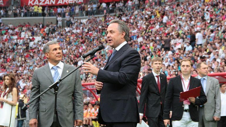 Глава Республики Татарстан Рустам МИННИХАНОВ (слева), который вскоре собирается на выборы, и министр спорта Виталий МУТКО. Фото Александр ВОЛГИН