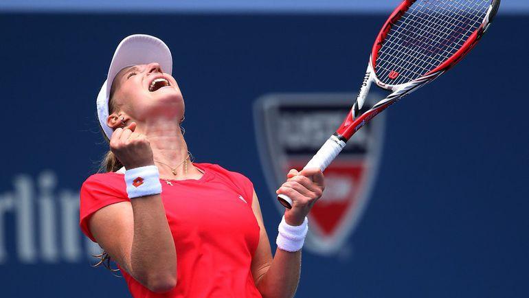 Пятница. Нью-Йорк. Екатерина МАКАРОВА празднует непростую победу над Элиной Свитолиной. Фото AFP