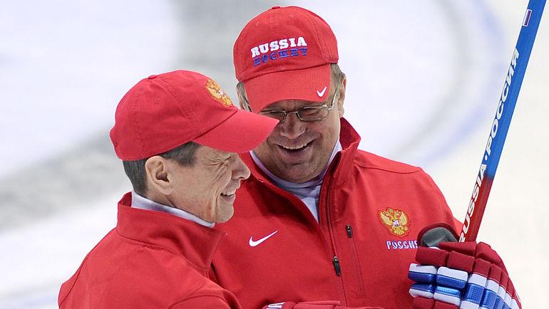 2011 год. Вячеслав БЫКОВ и Андрей НАЗАРОВ. Фото Владимир БЕЗЗУБОВ, photo.khl.ru
