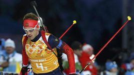 22 февраля 2014 года. Сочи. Дмитрий МАЛЫШКО в ходе победной для сборной России эстафеты 4х7,5 км.