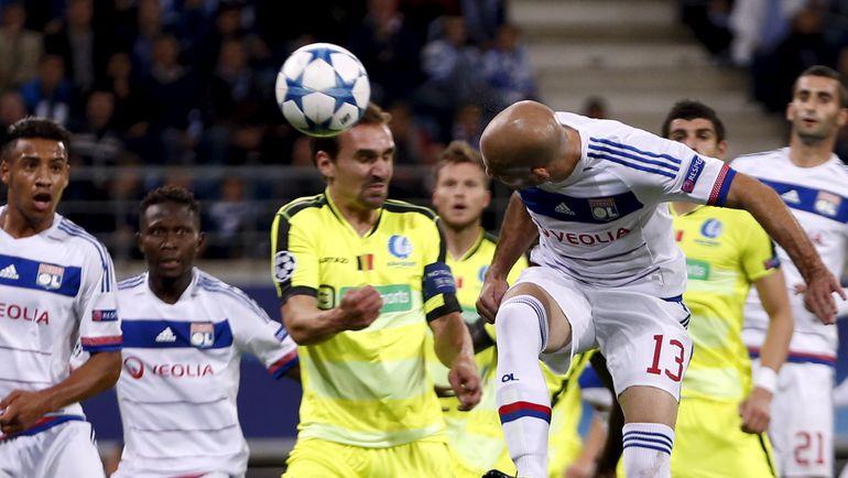 """Среда. Гент. """"Гент"""" - """"Лион"""" - 1:1. Кристоф ЖАЛЛЕ забивает гол в ворота хозяев. Фото REUTERS"""