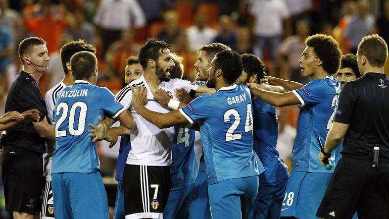 "Среда. Валенсия. ""Валенсия"" - ""Зенит"" - 2:3. Стычка в конце игры. Фото Reuters"