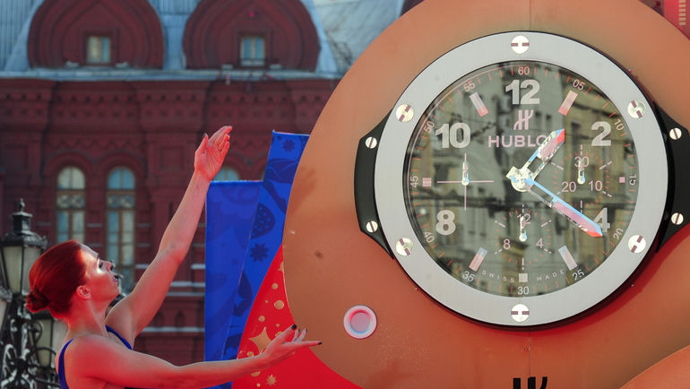 "Пятница. Москва. Церемония запуска часов обратного отсчета времени до старта чемпионата мира 2018 года. Фото Никита УСПЕНСКИЙ, ""СЭ"""