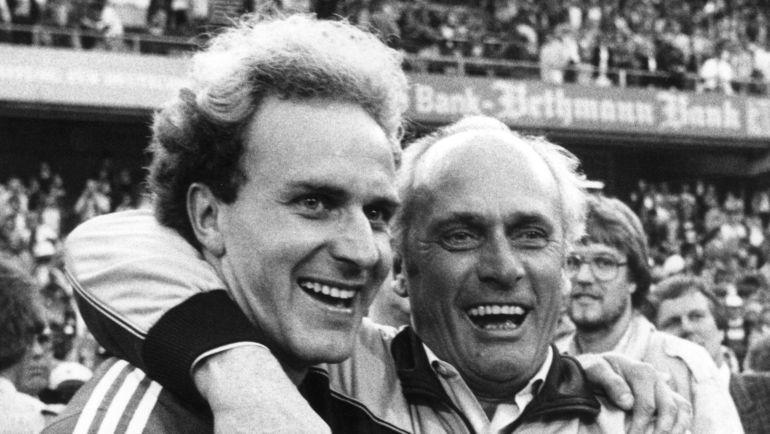 31 мая 1984 года. Франкфурт-на-Майне. Карл-Хайнц РУММЕНИГГЕ (слева) и Удо ЛАТТЕК. Фото AFP