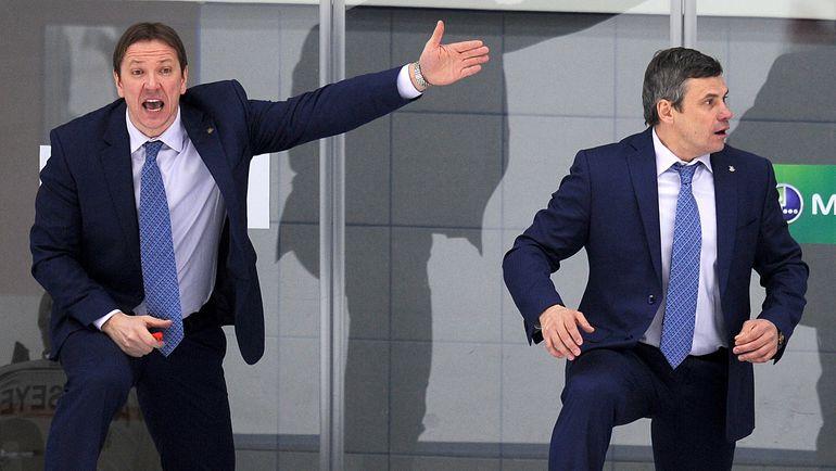 Петерис СКУДРА (слева) и Дмитрий КВАРТАЛЬНОВ. Фото Юрий КУЗЬМИН, photo.khl.ru