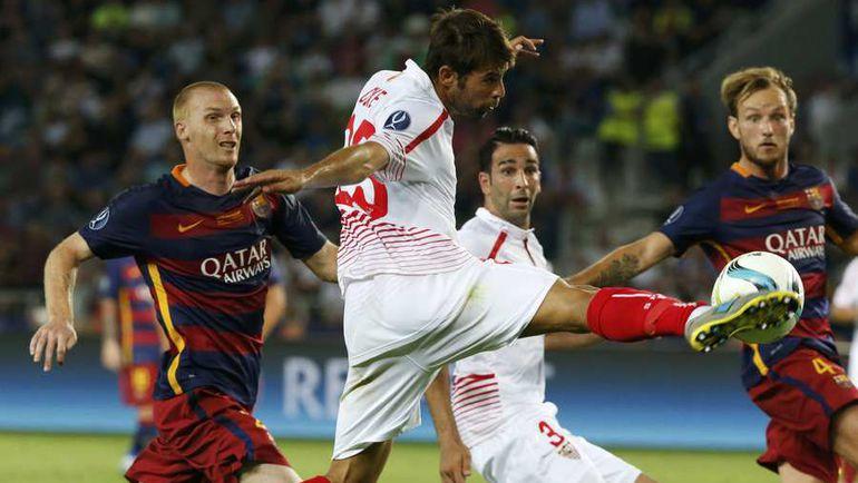 """""""Барселона"""" и """"Севилья"""" впервые сыграют между собой после матча на Суперкубок УЕФА, в котором каталонцы победили со счетом 5:4. Фото REUTERS"""